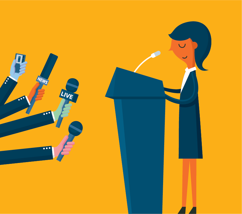 Vector illustration of woman standing at podium answering questions