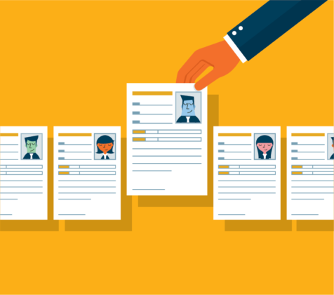 vector illustration of hand picking up resume