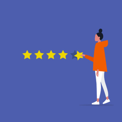 vector image of young female making star rating
